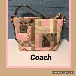 Coach beige/ Pink Patchwork Shoulder Bag